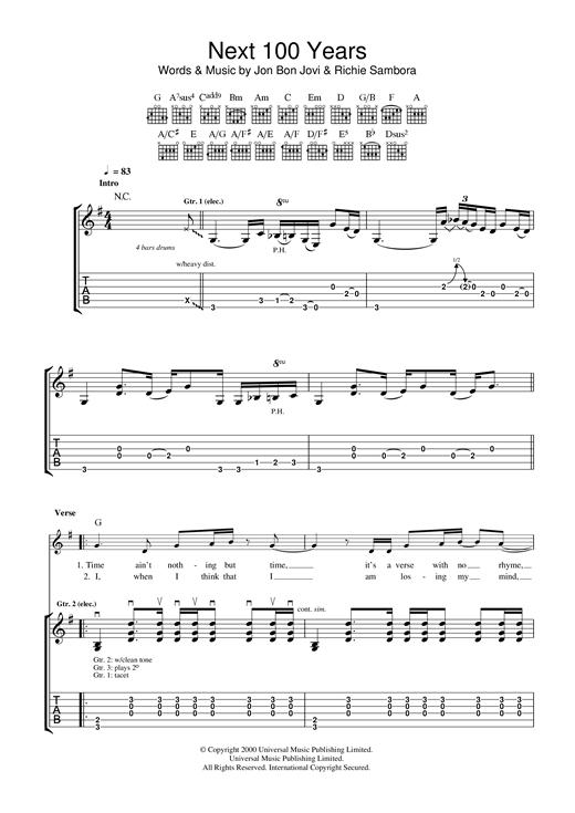 Bon Jovi Next 100 Years sheet music notes and chords. Download Printable PDF.