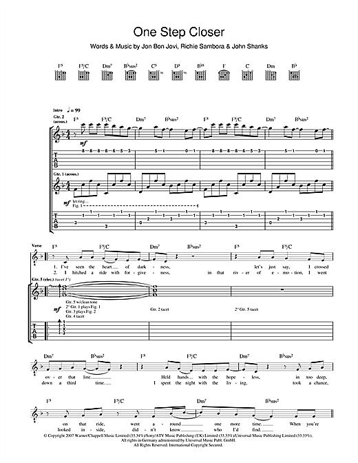 Bon Jovi One Step Closer sheet music notes and chords. Download Printable PDF.