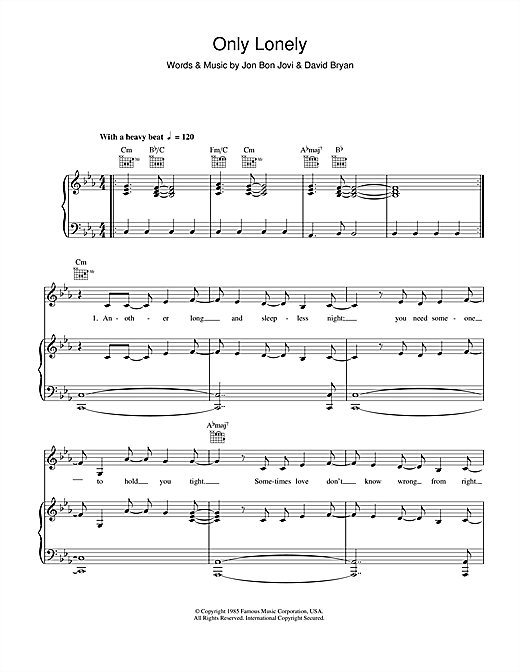 Bon Jovi Only Lonely sheet music notes and chords. Download Printable PDF.