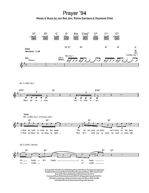 Bon Jovi Prayer '94 sheet music notes and chords. Download Printable PDF.