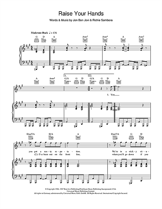 Bon Jovi Raise Your Hands sheet music notes and chords. Download Printable PDF.
