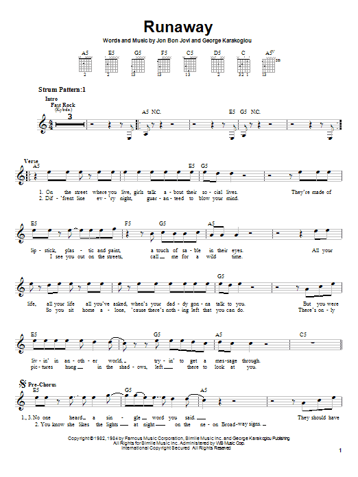 Bon Jovi Runaway sheet music notes and chords. Download Printable PDF.