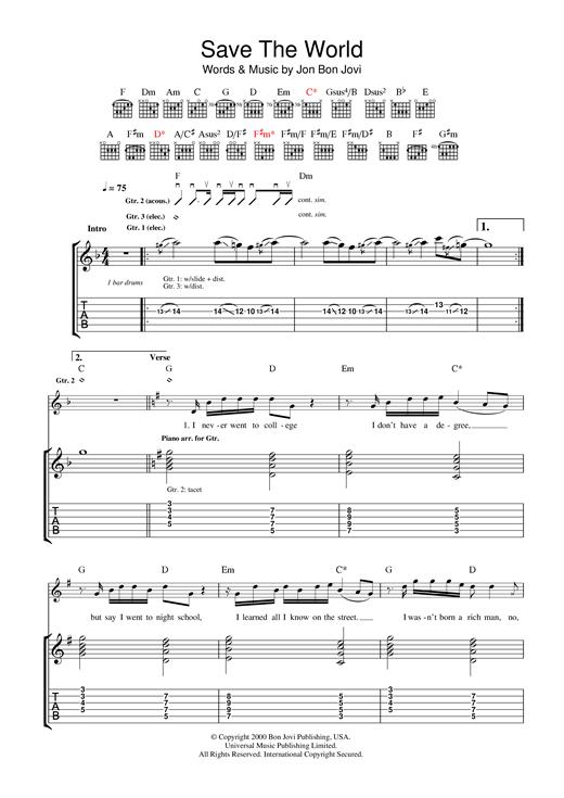 Bon Jovi Save The World sheet music notes and chords. Download Printable PDF.
