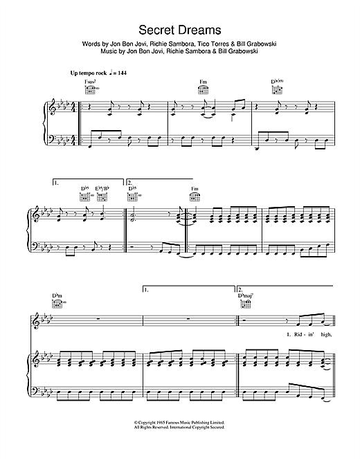 Bon Jovi Secret Dreams sheet music notes and chords. Download Printable PDF.