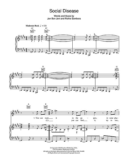 Bon Jovi Social Disease sheet music notes and chords. Download Printable PDF.