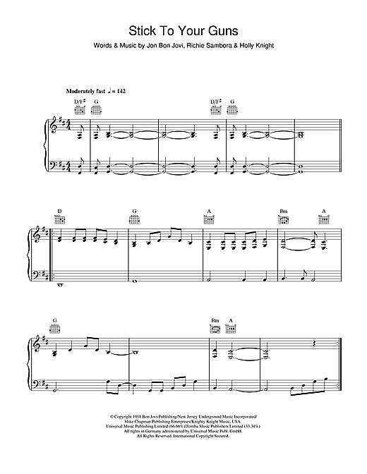 Bon Jovi Stick To Your Guns sheet music notes and chords. Download Printable PDF.