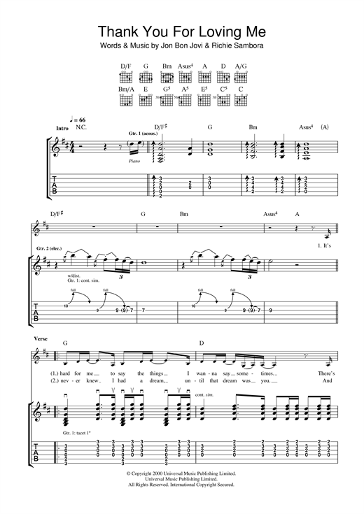 Bon Jovi Thank You For Loving Me sheet music notes and chords