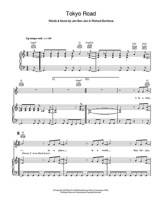 Bon Jovi Tokyo Road sheet music notes and chords. Download Printable PDF.
