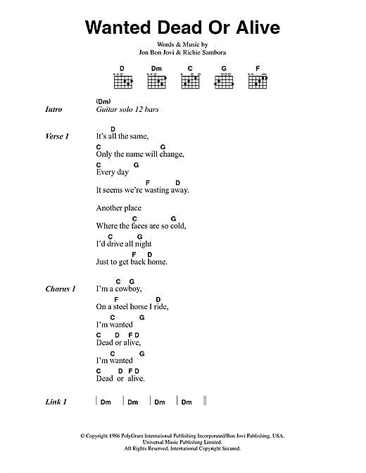 Bon Jovi Wanted Dead Or Alive sheet music notes and chords. Download Printable PDF.