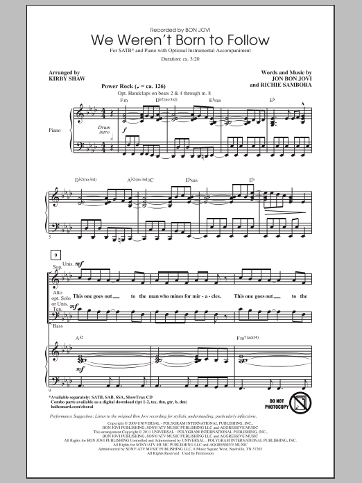 Bon Jovi We Weren't Born To Follow (arr. Kirby Shaw) sheet music notes and chords. Download Printable PDF.