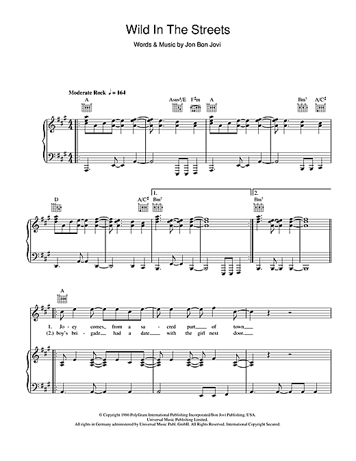 Bon Jovi Wild In The Streets sheet music notes and chords. Download Printable PDF.