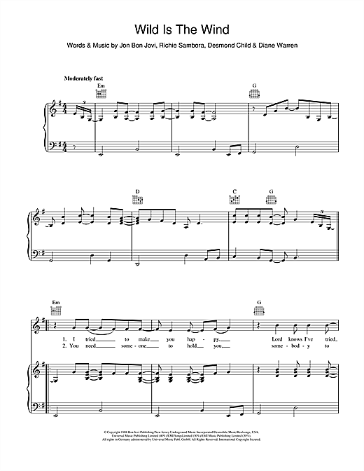 Bon Jovi Wild Is The Wind sheet music notes and chords. Download Printable PDF.