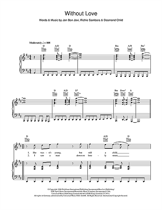 Bon Jovi Without Love sheet music notes and chords. Download Printable PDF.