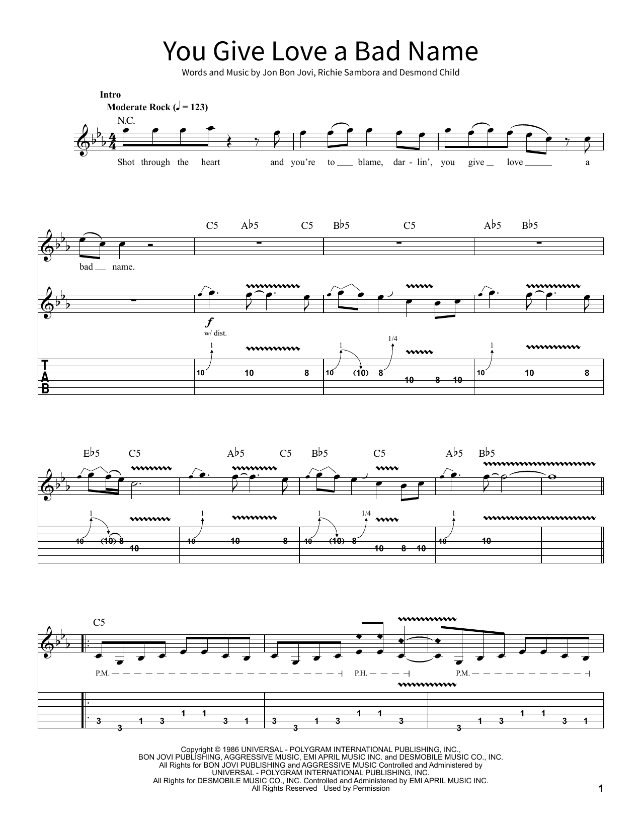Bon Jovi You Give Love A Bad Name sheet music notes and chords. Download Printable PDF.