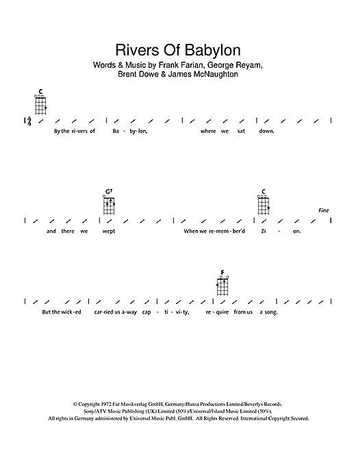 Boney M Rivers Of Babylon sheet music notes and chords