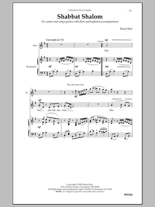 Bonia Shur Shabbat Shalom Um'vorach sheet music notes and chords. Download Printable PDF.