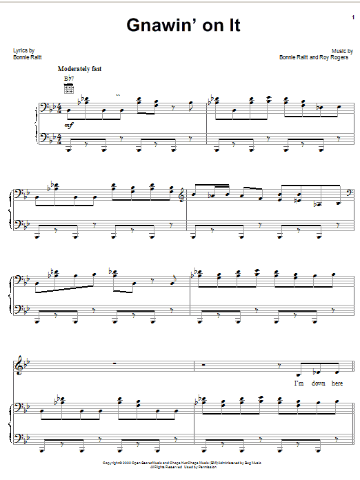 Bonnie Raitt Gnawin' On It sheet music notes and chords. Download Printable PDF.
