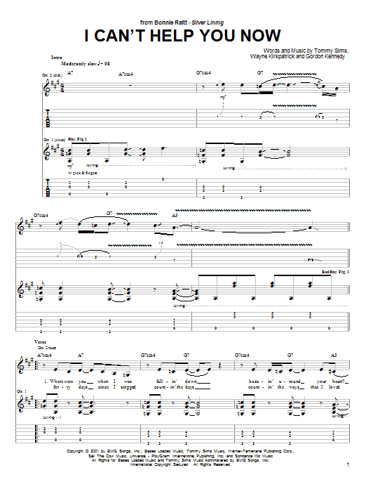 Bonnie Raitt I Can't Help You Now sheet music notes and chords