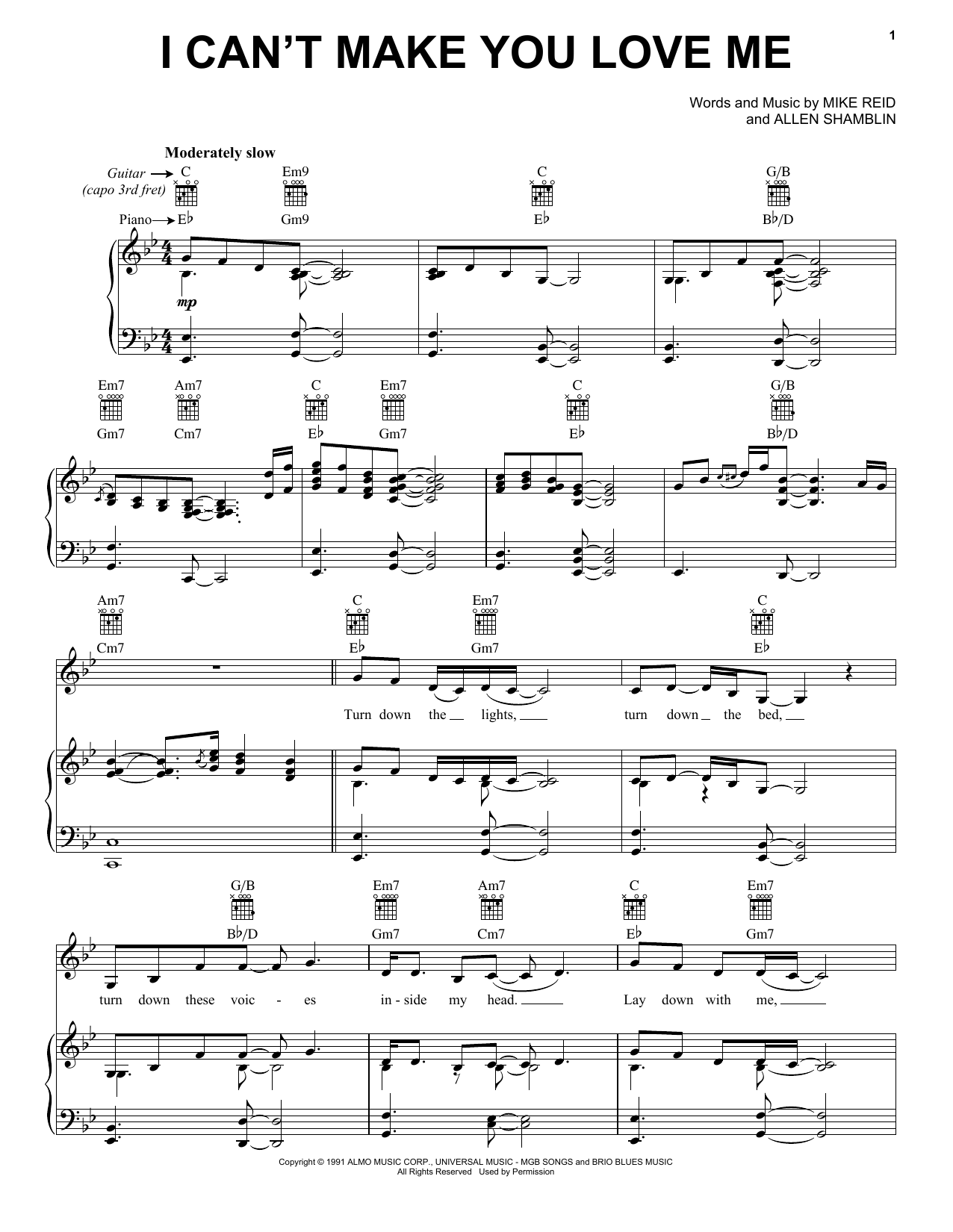 Bonnie Raitt I Can't Make You Love Me sheet music notes and chords. Download Printable PDF.