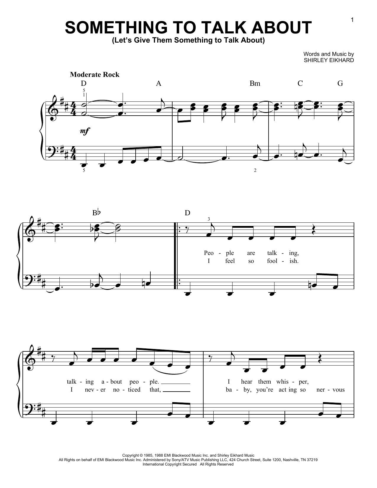 Bonnie Raitt Something To Talk About (Let's Give Them Something To Talk About) sheet music notes and chords