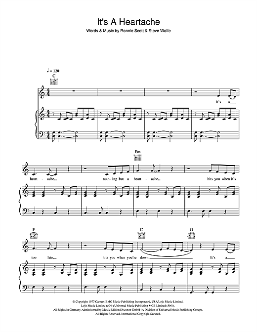 Bonnie Tyler It's A Heartache sheet music notes and chords. Download Printable PDF.
