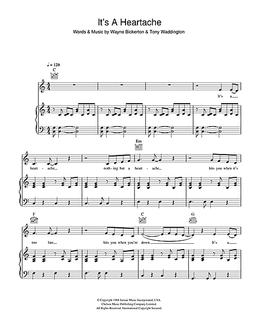 Bonnie Tyler Nothing But A Heartache sheet music notes and chords. Download Printable PDF.