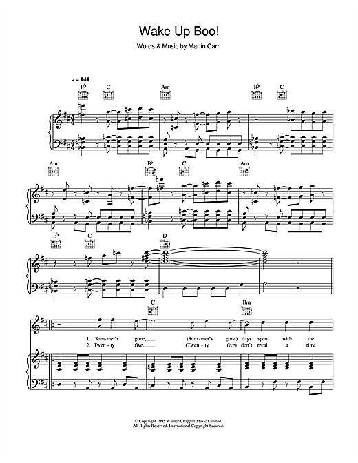 Boo Radleys Wake Up Boo! sheet music notes and chords. Download Printable PDF.