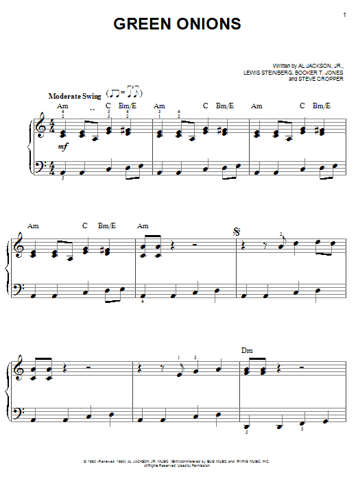 Booker T. and The MGs Green Onions sheet music notes and chords. Download Printable PDF.