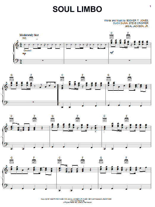 Booker T. and The MGs Soul Limbo sheet music notes and chords