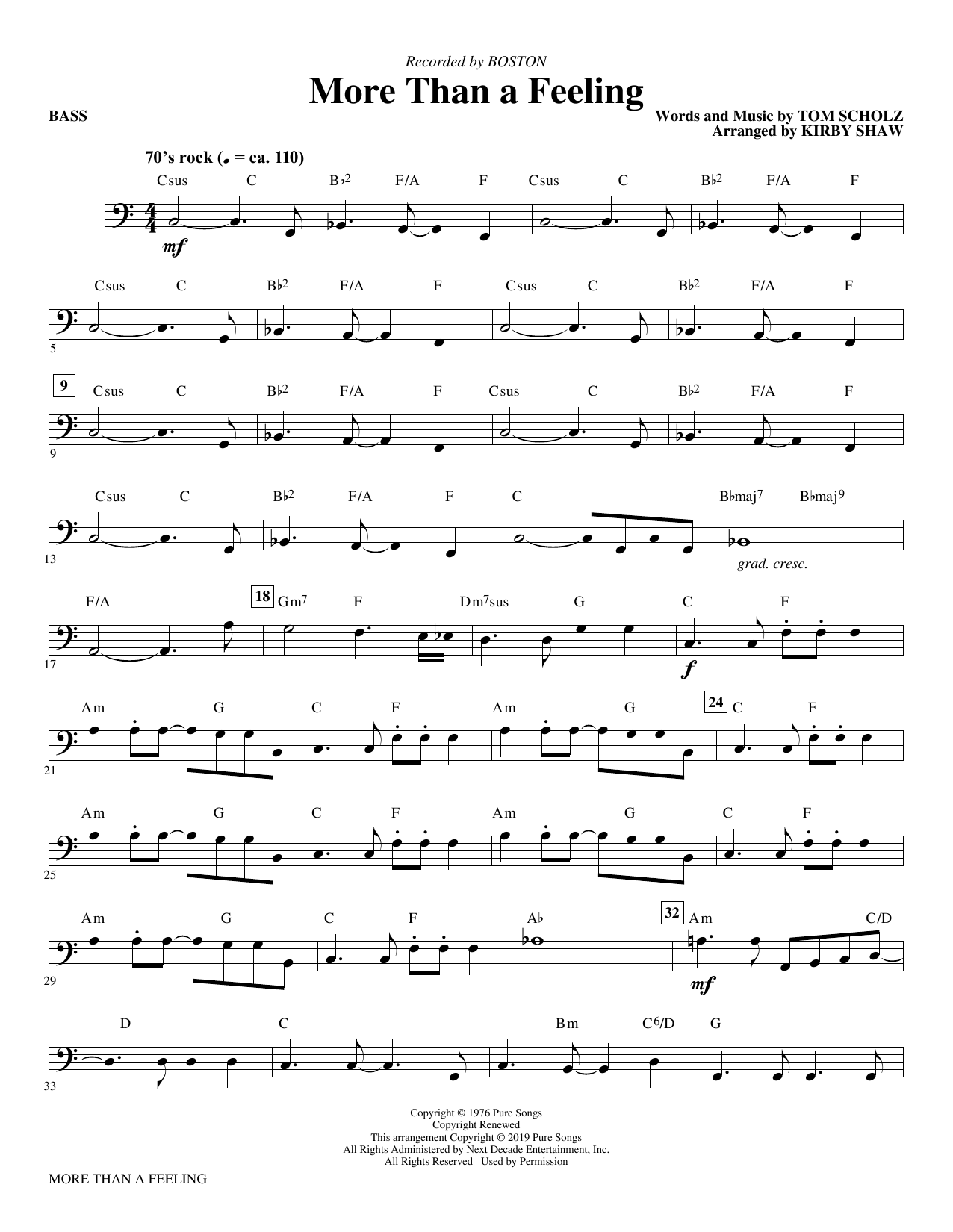 Boston More Than a Feeling (arr. Kirby Shaw) - Bass sheet music notes and chords. Download Printable PDF.