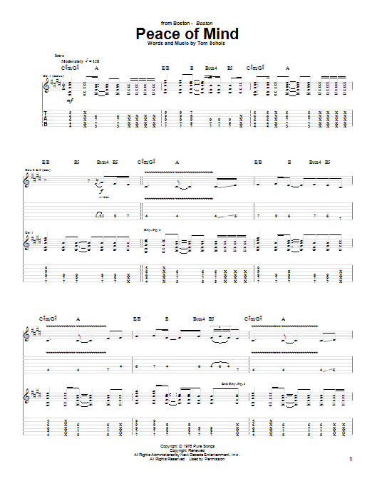 Boston Peace Of Mind sheet music notes and chords. Download Printable PDF.