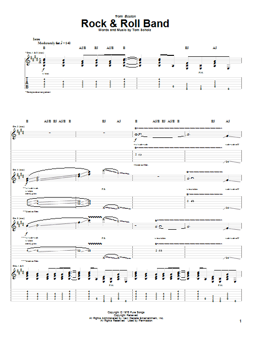 Boston Rock & Roll Band sheet music notes and chords. Download Printable PDF.