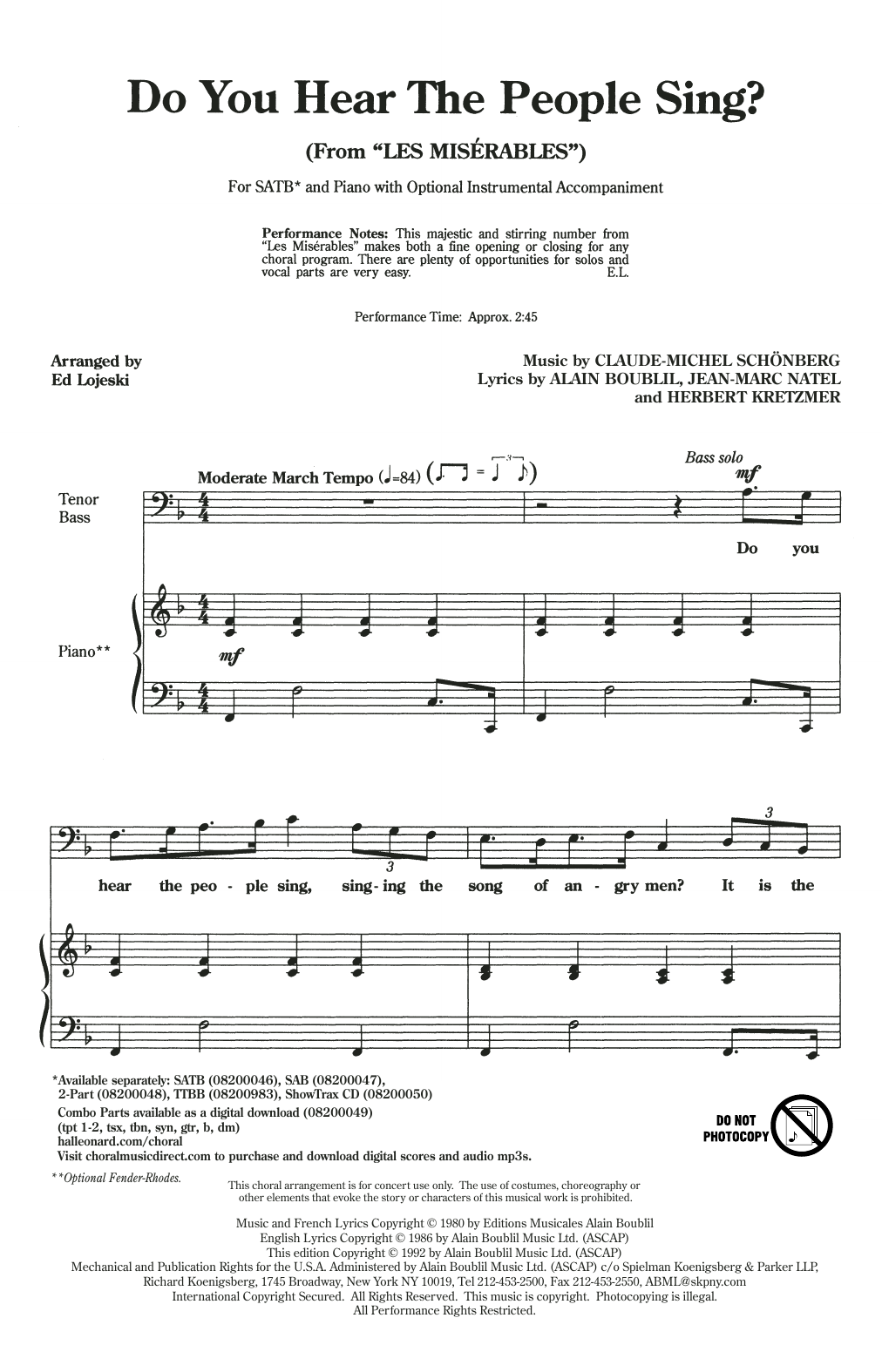 Boublil Schonberg Do You Hear The People Sing From Les Miserables Arr Ed Lojeski Sheet Music Pdf Notes Chords Broadway Score Sab Choir Download Printable Sku 409872