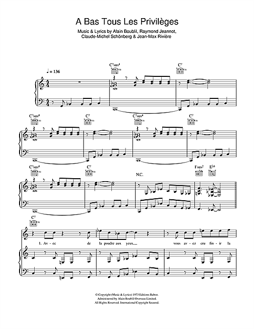 Boublil and Schonberg A Bas Tous Les Privileges sheet music notes and chords. Download Printable PDF.