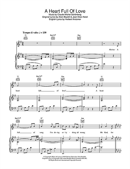 Boublil and Schonberg A Heart Full Of Love (from Les Miserables) sheet music notes and chords. Download Printable PDF.