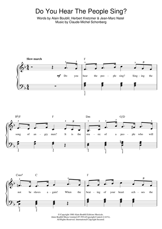 Boublil and Schonberg 'Do You Hear The People Sing? (from Les Miserables)'  Sheet Music Notes, Chords | Download Printable Alto Sax Solo - SKU: 106847
