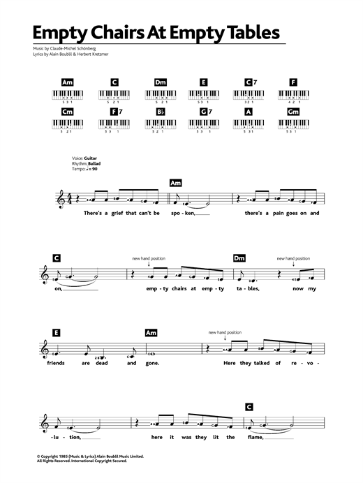 Boublil and Schonberg Empty Chairs At Empty Tables (from Les Miserables) sheet music notes and chords. Download Printable PDF.