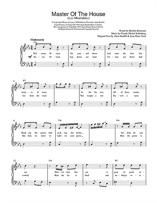 Boublil and Schonberg Master Of The House (from Les Miserables) sheet music notes and chords. Download Printable PDF.