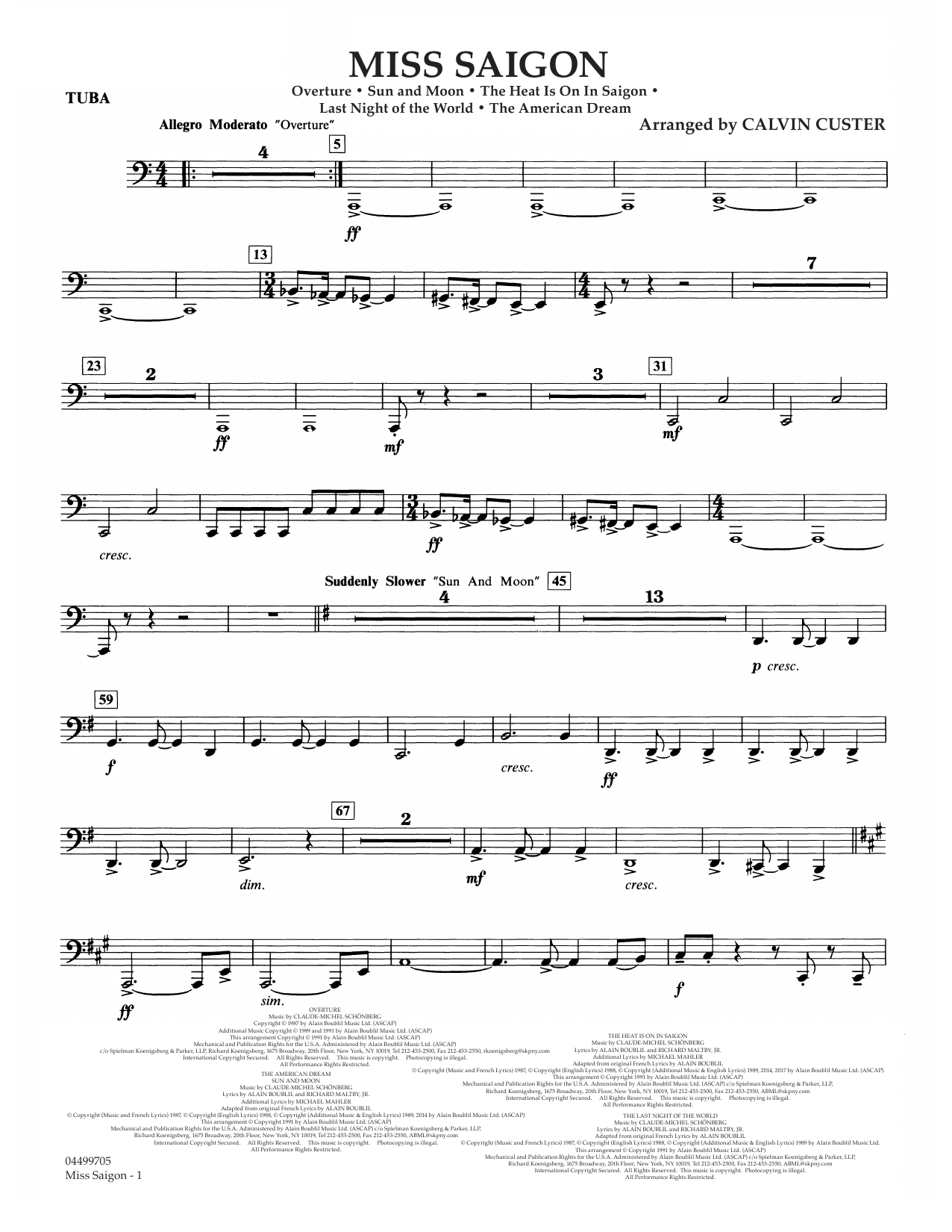 Boublil and Schonberg Miss Saigon (arr. Calvin Custer) - Tuba sheet music notes and chords. Download Printable PDF.