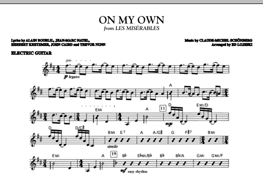 Boublil and Schonberg On My Own (from Les Miserables) (arr. Ed Lojeski) - Electric Guitar sheet music notes and chords. Download Printable PDF.