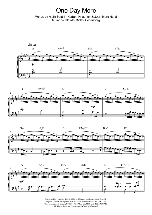 Boublil and Schonberg One Day More (from Les Miserables) sheet music notes and chords