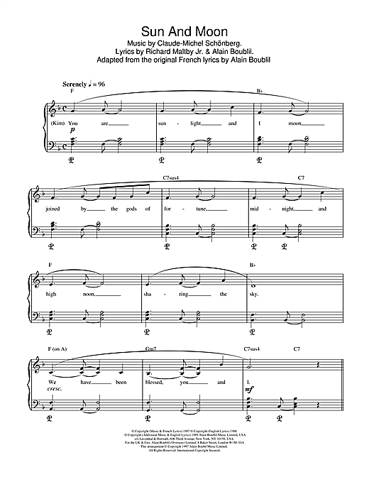 Boublil and Schonberg Sun And Moon (from Miss Saigon) sheet music notes and chords
