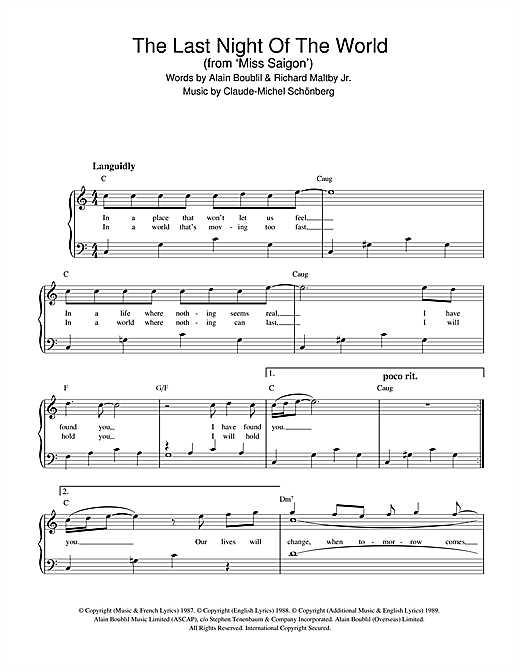 Boublil and Schonberg The Last Night Of The World (from Miss Saigon) sheet music notes and chords. Download Printable PDF.