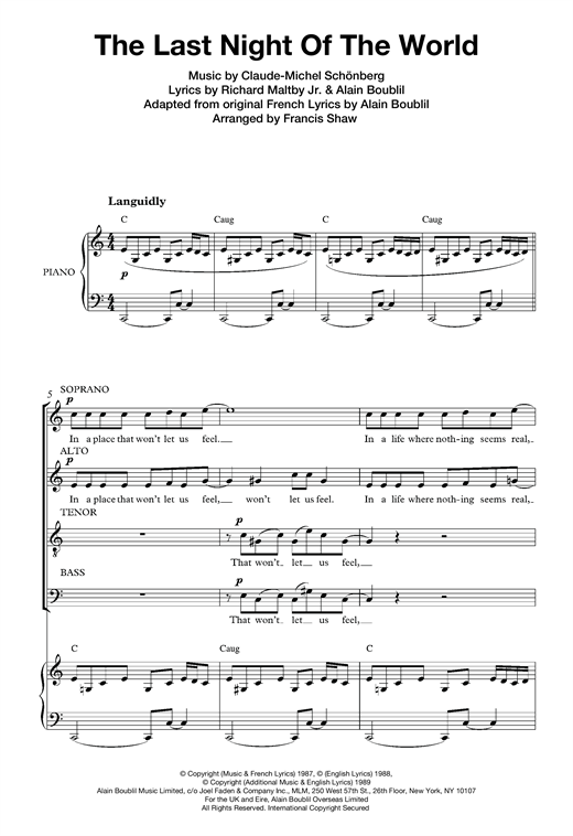 Boublil and Schonberg The Last Night Of The World (from Miss Saigon) (arr. Francis Shaw) sheet music notes and chords. Download Printable PDF.