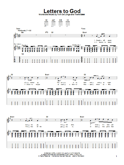 Box Car Racer Letters To God sheet music notes and chords