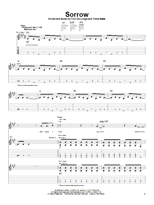 Box Car Racer Sorrow sheet music notes and chords