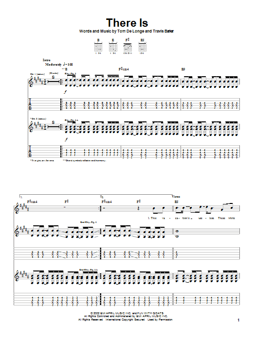 Box Car Racer There Is sheet music notes and chords. Download Printable PDF.