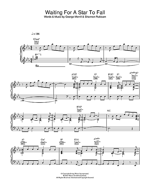 Boy Meets Girl Waiting For A Star To Fall sheet music notes and chords. Download Printable PDF.