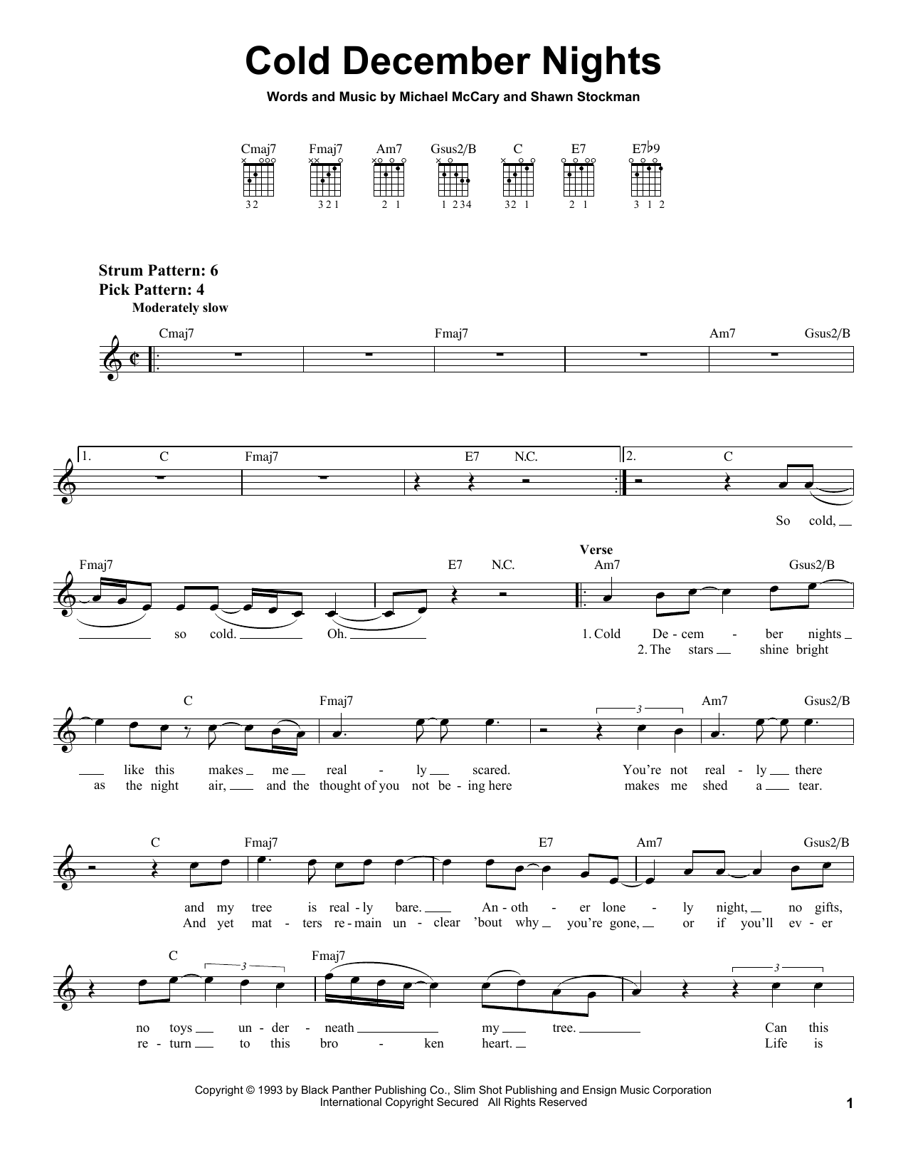 Boyz II Men Cold December Nights sheet music notes and chords