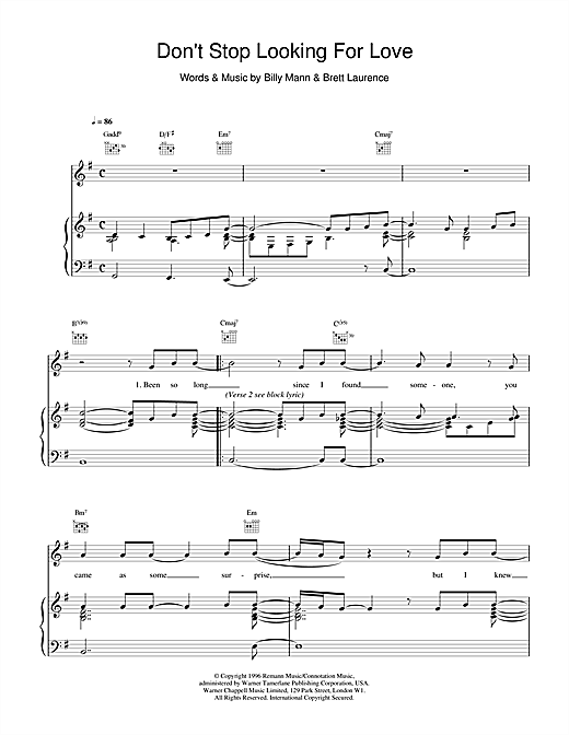 Boyzone Don't Stop Looking For Love sheet music notes and chords. Download Printable PDF.